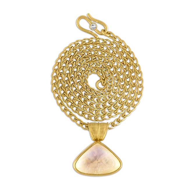 Prounis Moonstone Fan Pendant on Solo Chain in 22k gold
