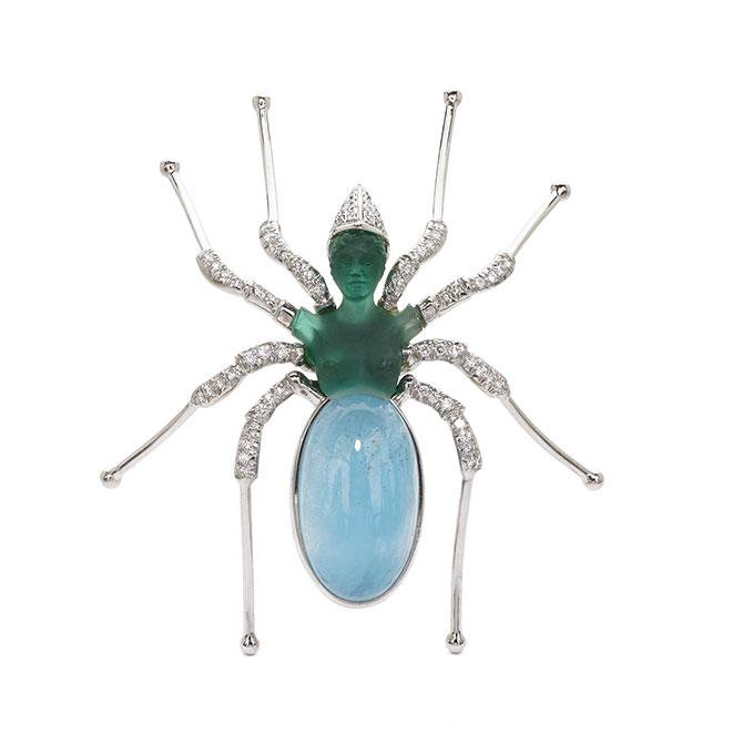 Alishan Black Widow Spider brooch