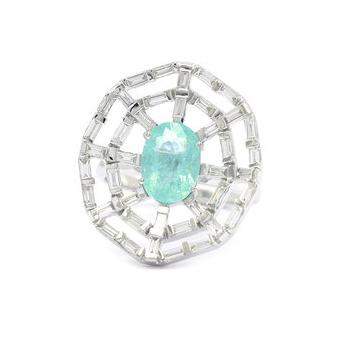 Ri Noor Paraiba and baguette diamond ring